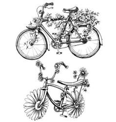 Bikes with flowers drawings set vector image