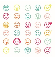 Color set of icons with smiley faces vector image vector image