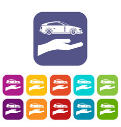 hand and car icons set vector image vector image