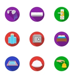 Hotel set icons in flat style Big collection of vector image vector image