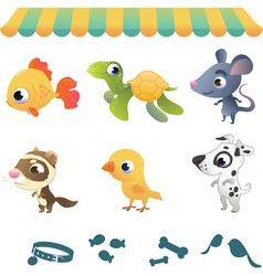 Set of cartoon pets vector image vector image