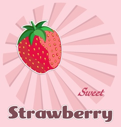 Template of strawberry label vector