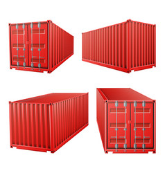 3d red cargo container classic cargo vector