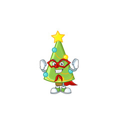 a cartoon christmas tree decoration wearing vector image