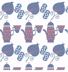 abstract tea pot background with leaves and vector image