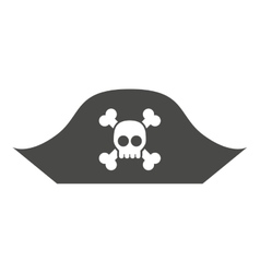 alert skull in hat pirate isolated icon design vector image