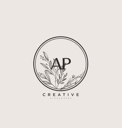 Ap beauty initial logo art handwriting logo vector