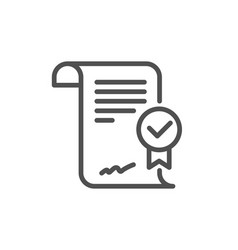 Approved agreement line icon verified document vector