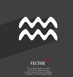 Aquarius symbol Flat modern web design with long vector image
