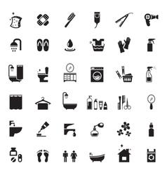 bathroom icons set vector image