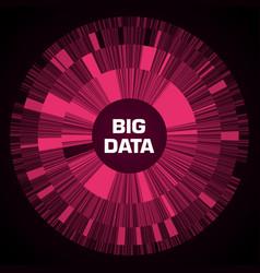 Big data visualization red futuristic circular vector