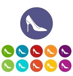 Bride shoes set icons vector image