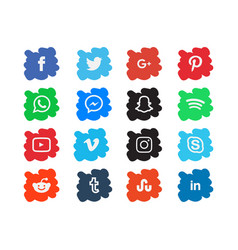 brush background social media icon template vector image