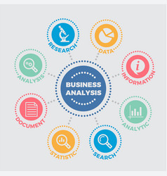 business analysis with icons vector image