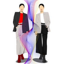 businesswomen silhouette on abstract background vector image