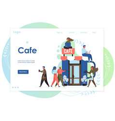 cafe website landing page design template vector image