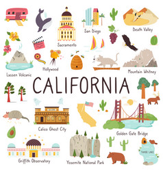 California big set landmarks monuments symbols vector