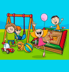 Cartoon children characters on playground vector