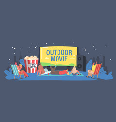 Characters spend night with friends at outdoor vector