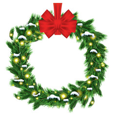 christmas wreath with green fir branch and red vector image