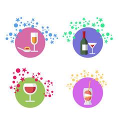 cocktails alcohol beverages set vector image