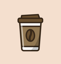 coffee paper takeaway cup with coffee bean vector image