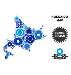 Collage hokkaido island map of gears vector