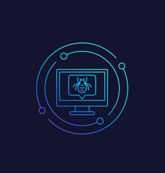 computer bug icon linear vector image