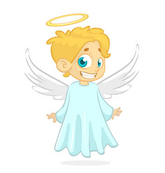 cute cartoon angel holding a star vector image
