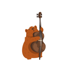 Cute hamster playing cello cartoon animal vector