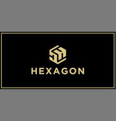 Dh hexagon logo vector