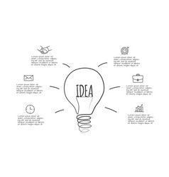 doodle lightbulb infographic with 6 options hand vector image
