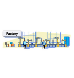 engineers in uniform controlling factory vector image