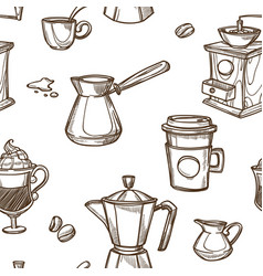 Equipment for coffee preparation sepia sketches vector