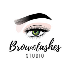 Eyebrow and eyelashes studio logo beautiful vector