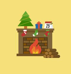 fireplace and christmas tree present box calenda vector image