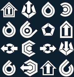 Flat abstract icons set simple corporate graphic vector