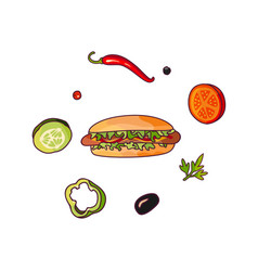 Flying food ingredients and hot dog set vector