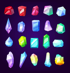 gem stones and minerals icons for jewelry industry vector image