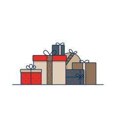 gift boxes wrapped in wrapping paper and decorated vector image