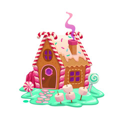 gingerbread house with candies and marshmallows vector image
