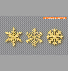gold christmas decoration set golden glitter vector image