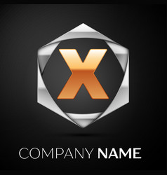 Gold letter x logo symbol in the silver hexagonal vector