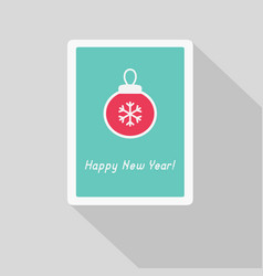 greeting card with christmas ball vector image