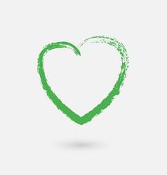 grunge green heart vector image