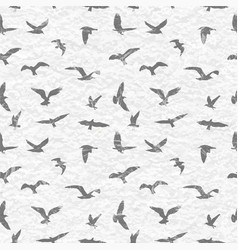 grunge seamless pattern of flying birds white vector image