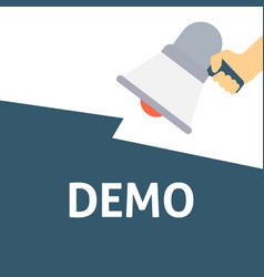 Hand holding megaphone with demo announcement vector