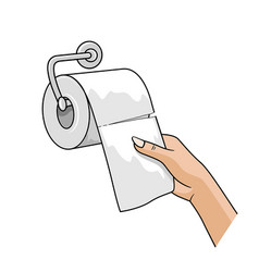 Hand woman pull up with a tissue roll white paper vector