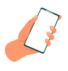hands holding phone smartphone in arms blank vector image