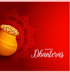 Happy dhanteras red background with golden coin vector